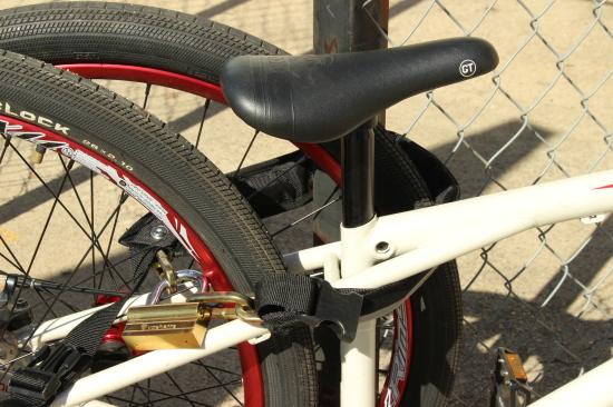 Mighty Click bike lock locked up.